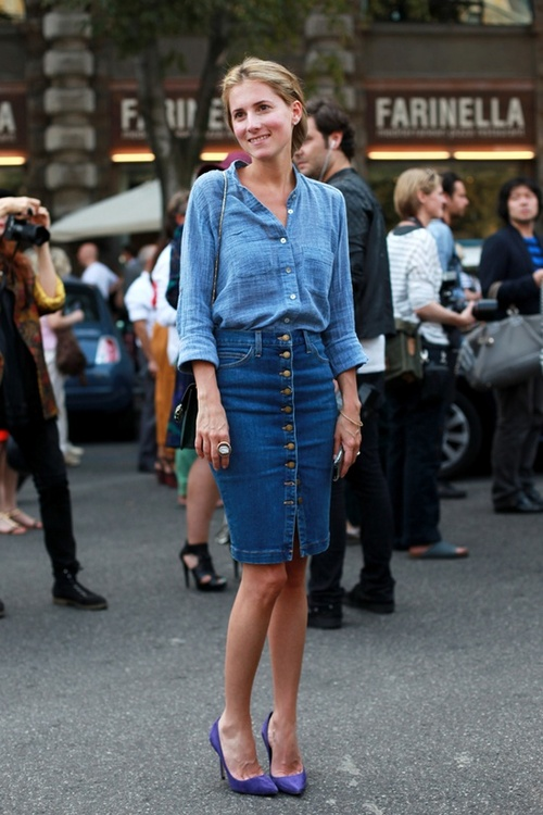 Marina is wearing a Top by Nation, Skirt by Current Elliot,  shoes by Carolina Herrera