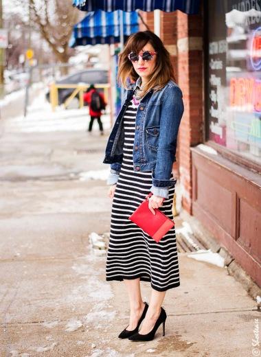 toronto-street-style-fashion-denim-jacket-zara-stripe-dress-peter-pilotto-for-target-sunglasses-skull-clips-nine-west-black-suede-pumps-shoes