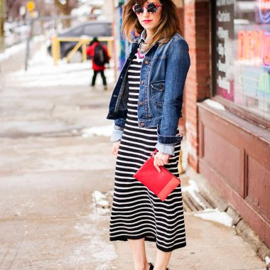 toronto-street-style-fashion-denim-jacket-zara-stripe-dress-peter-pilotto-for-target-sunglasses-skull-clips-nine-west-black-suede-pumps-shoes