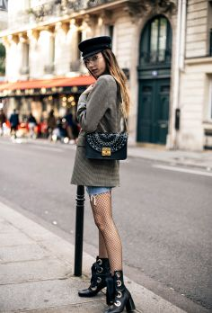 Paris-fashion-week-street-style-parisian-sailor-cap-denim-mini-skirt-checked-blazer-chloe-similar-lace-up-boots-trends-2016