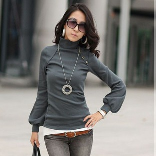 2015-new-fashion-plus-size-women-clothing-blouses-button-sexy-tops-shirts-Sexy-High-collar-lantern