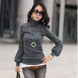 2015-new-fashion-plus-size-women-clothing-blouses-button-sexy-tops-shirts-Sexy-High-collar-lantern