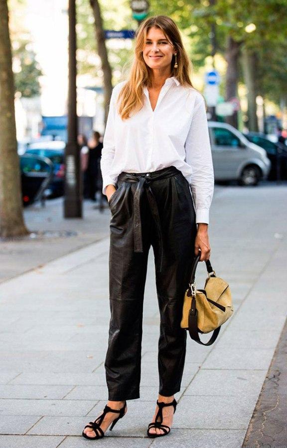 street-style-look-camisa-branca-social-calca-esportiva-sandalia-bolsa-amarela