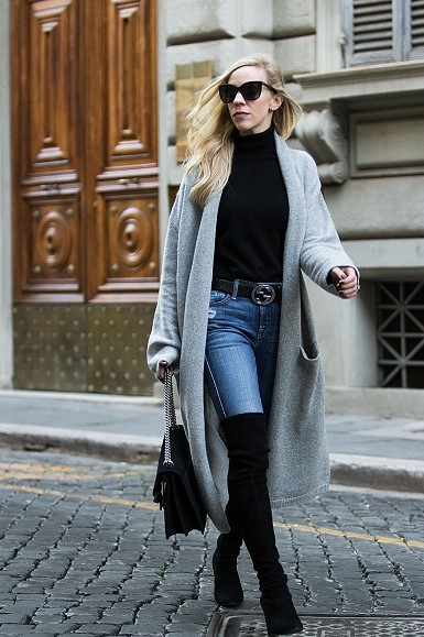 Meagan-Brandon-long-gray-maxi-cardigan-with-Gucci-belt-and-Stuart-Weitzman-over-the-knee-boots-how-to-wear-duster-cardigan